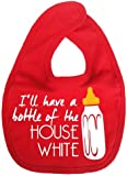 Dirty Fingers, I'll have a bottle of the House White, Boy Girl Feeding Bib, Red