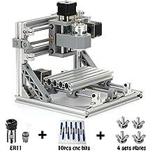 TopDirect CNC Router Engraving Machine with 5mm ER11, Working Area: 160*100*45mm, PCB PVC Wood Metal Milling Machine + 10PCS CNC Router Bits + 4 Sets CNC Plates