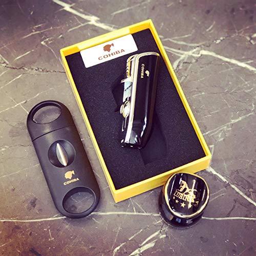 TheCigarHolder Zigarre-Geschenkpaket: Zigarettenanzünder, Zigarrenablage, Cigar v Cutter - Zigarren-cutter Feuerzeug Und