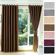 KINLO Cortina Térmica para Ventana Blackout Curtain 145 x 245cm Marrón 1 Pieza Dormitorio Salón Cortina Opaca Resistente a UV Contra el Sol