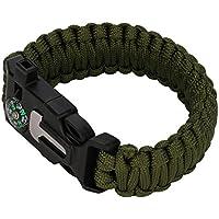 Pulsera de supervivencia, hunpta al aire libre Self-Rescue cuerda para paracaídas silbato brújula Camping supervivencia pulseras, verde