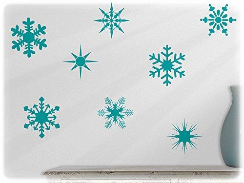 wandfabrik - Wandtattoo - 10 schöne Schneeflocken in türkis (Schneeflocken Latex)