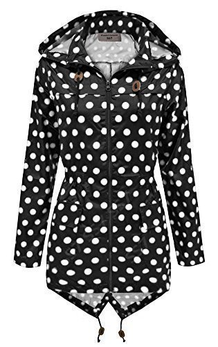 Ss7 -  giacca impermeabile  - donna schwarz / weiß punkte 44