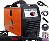 MIG Welder 120A Flux Core 220V DC Mini Inverter Gasless Carbon Steel Welding Machine Orange with Mig Torch Earth Clamp …