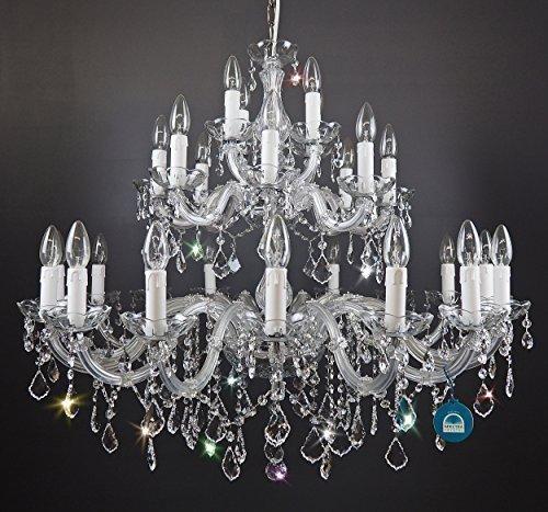 Lampadari di cristallo 28 Fiamma Ø90 di CRISTALLO SWAROVSKI cristallo SPECTRA in Forma di abete Argento