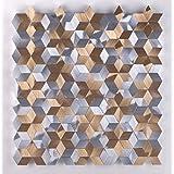 Hot!Estilo de moda Mosaico de aluminio Decoración de pared Azulejos de metal Plata Cobre Estilo geométrico 300*300mm Cocina backsplash / ducha de pared de la pared de la pared / Hotel pasillo pared de la frontera / piso residencial de piso y aplicaciones de la pared(LSALN01) (11 pieza/㎡)