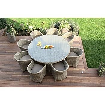 Amazon.de: Aston Rattan Gartenmöbel 8 Sitzer rund Esstisch Set beige ...
