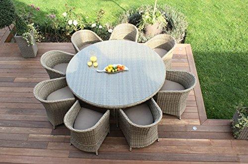 Aston Rattan Gartenmöbel Für 8 Personen Rund Kissen Beige Günstig