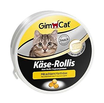 GimCat Käse-Rollis - Friandises pour chat saveur fromage - Sans sucre ajouté - Riche en vitamines - Boîte de 50 g