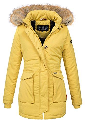Navahoo Damen Winter Jacke Parka Mantel Winterjacke warm gefütterte Kapuze B612 [B612-Schnee-Gelb-Gr.XS]