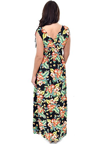 Damen Maxi-Kleid, Tiermuster, Tiger, Leopard, mit verstellbarem Band Schwarz - Schwarz