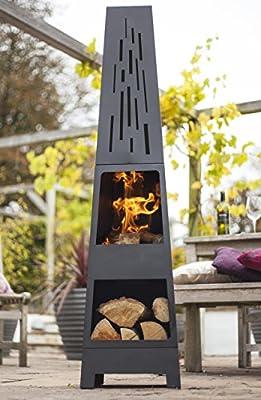 La Hacienda 150 cm Oxford Contemporary Steel Chiminea Patio Heater with Wood Store - Black by La Hacienda Ltd