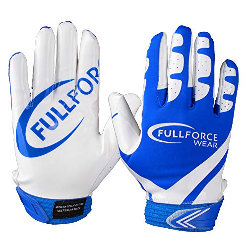 Receiver Football Gloves, Full Force Victory American Football Handschuhe - royal/weiß Gr. L