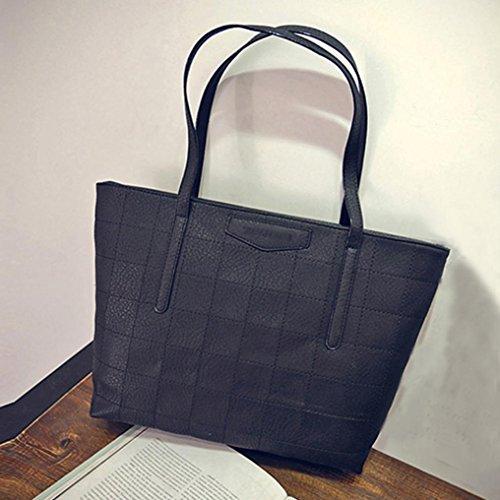 Damen Handtaschen, Huhu833 Frauen Lattice Ledertaschen Große Kapazität Schultertasche Casual Handtasche Schwarz