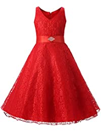 LSERVER Vestido de Niñas y Princesas de Encaje Para Fiestas