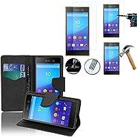 Vcomp® Sony Xperia/M5 M5 Dual E5603 E5606 E5653 E5633 E5643 E5663:-Custodia a portafoglio, in similpelle, effetto tessuto a libro, con flip cover, con supporto video, colore: nero, Confezione 2 pellicole protettive per schermo, in vetro temprato