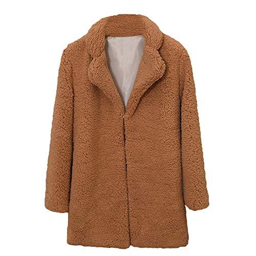 Faux Kaschmir-pullover (Sannysis Damen Pullover Herbst Winter Elegant Plüschmantel Frauen Casual Notch Kragen Mantel Faux Pelzmantel Outwear Bluse)