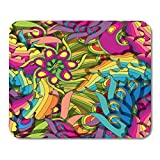 HOTNING Tapis de Souris Colorful Kitsch Psychedelic Flashy Fun Hypnosis Pattern Pop Abstract 11.8