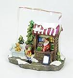 Weihnachtshaus mittelgroß - Weihnachtsmann - bunt und beleuchtet - 4 LED - Lichthaus - Weihnachtsambiente - Winterszene - Nikolaushaus