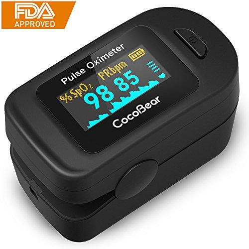 CocoBear oximeter Pulsoximeter mit OLED-Display für Pulsmessung Fingeroximeter mit Ein-Knopf-Bedienung für Sauerstoffsättigung SpO2 in Blut