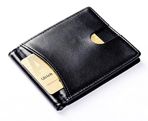 Kreditkartenetui mit Geldklammer, Flache Geldbörse, Geldbeutel, Herren Portemonnaie, Brieftasche, Echt-Leder, RFID, Schwarz (Flache Geldbörse Metall)