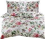Mako Satin Blumen Bettwäsche mit Vögeln und Schmetterlingen weiß 200x200 + 2X 80x80 100% Baumwolle