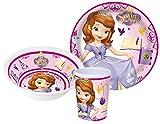 Disney Sofia die Erste Kinderservice mit Teller, Müslischüssel und Trinkbecher aus Melamin