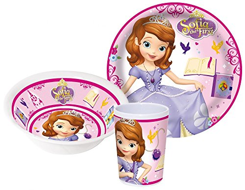 Disney Sofia die Erste Kinderservice mit Teller, Müslischüssel und Trinkbecher aus Melamin (Sofia Die Erste Kleinkind-kleid)