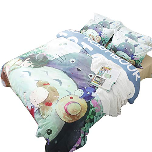 Muster Totoro Kostüm - CHICKZ Cartoon Nette Bettwäsche Set Anime Totoro Katze Grün Bettbezug Set Bettwäsche Bettlaken Kissenbezug 3 Stück Kinder Bettwäsche