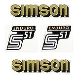 Set: Aufkleber - SIMSON S51 ENDURO - GOLD - für Tank und Seitendeckel