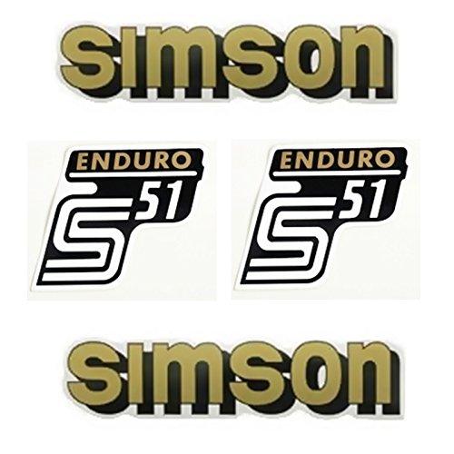 Set Aufkleber für Simson S51 Enduro Gold Tank und Seitendeckel