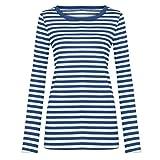 TIMEMEAN Slim Coton Chemisier à Manches Longues pour col Rond t-Shirt Femme Bleu Basique Chemise rayée Tunique pmu Waikiki Robe Sweat Shirt Gilet Bouse XL...