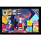 ArtzFolio Times Square in Manhattan, New York, USA Printed Bulletin Board Notice Pin Board cum Black Framed Painting 18 x 12inch