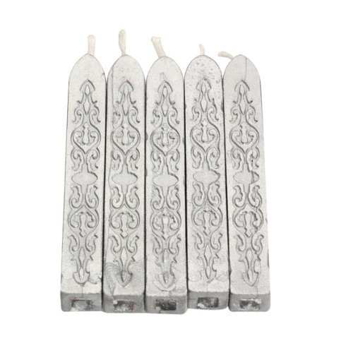 Tenflyer 5er-Pack Stück Bunte Kerze Quadratisch Siegellack Stick mit Docht(Silber)