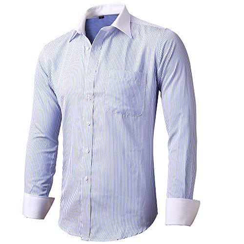 INFLATION Herren Hemd Business Freizeit Langarm Hemden mit Manschettenknöpfe Sanfter Stoff- Gr. XXL/ EU 44, Hellblau-Streifen