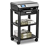 Unbekannt Halter Lz-308 Drucker Cart Machine Walzgerüst Mit Kabelmanagement - Hält Bis Zu 75 Pfund (Schwarz)