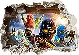 Lego Ninjago Smashed 3D-Wand-Aufkleber für das Schlafzimmer für Jungen und Mädchen, aus Vinyl