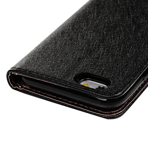 VertTek Coque iPhone 6S, Etui iPhone 6 (4.7 pouces) Étui Housse en Cuir Portefeuille à Rabat Flip Wallet Case Cover Fonction Support Fente Carte Card Slots Fermeture Aimanté Couverture Interne Silicon Noir