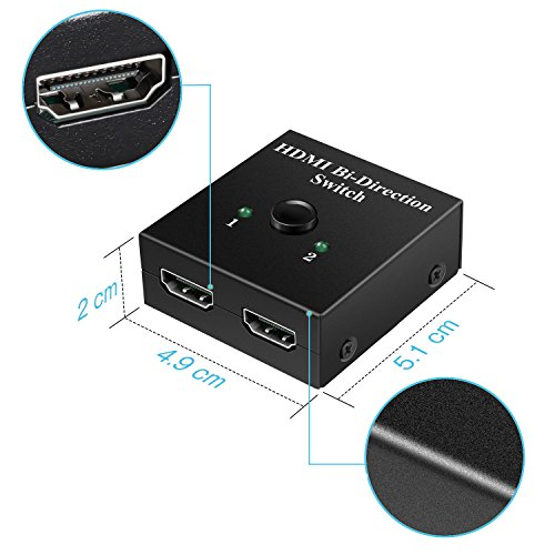 HDMI Switch, Techole HDMI Splitter Bidirectional 2 Input to 1 Output or Switch 1 In to 2 Out, Supports 4K 3D 1080P, HDCP Passthrough-HDMI Switcher for HDTV / Blu-Ray player / DVD / DVR / Xbox etc.
