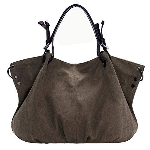 SSMK  Canvas Tote Bag, Damen Schultertasche, braun - braun - Größe: One Size (Bag Braun Canvas Tote)