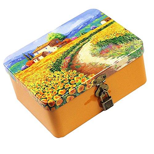 Sharplace Metall Rechteckige Leere Aufbewahrungsbox Container Mini Portable Box - Sonnenblume