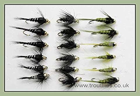 Gold Bead Nymph Trout Flies, 18 Pack Olive & Black. Mixed 10/12. For Fly Fishing