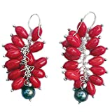 Red Coral & Pearls Earrings and 925 sterling silver hooks