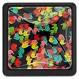 COOSUN - Tirador de cajón de cristal con forma cuadrada para armario, cajón, cajones, armario, pomos con tornillos para el hogar, oficina, armario, 3 piezas