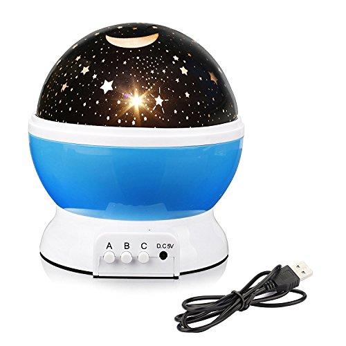 ALED LIGHT Luz de la noche del bebé Proyector de la estrella de la luna Rotación de 360 grados - 4 bulbos del LED que cambian con el cable del USB, regalos únicos para los hombres Las mujeres embroma los mejores regalos del bebé