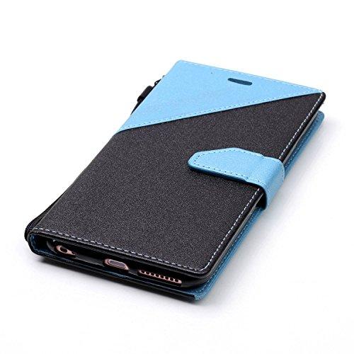 iPhone 6Plus/6S Plus 14cm avec Bumper plaqué, newstars 3en 1Coque antichoc ultra fine Texture PC Coque arrière de protection rigide Shell Housse Coque protection tous les rond pour iPhone 6Plus/6 P- Sky Blue + Black