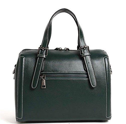 XinMaoYuan Borsa in pelle Ladies' borsa di Boston Ladies' di borsette in cuoio unica borsa a tracolla colore puro cuscino tipo sacchetto di Zipper,verde Verde
