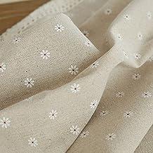 Sweet Home Decor margaritas flores bordado lino y algodón mantel café mesa de bar con ornamento, marrón, H£º140*220cm