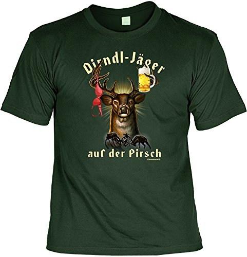 Jäger Party Trinker Spaß Bayern Motiv: Dirndl-Jäger auf der Pirsch (Größe: L) (T-Shirt) (Bluse Schulter Bauer)