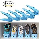 Réglable à Chaussures Organiseur De Logements, HULISEN Plastique économie D'espace à Chaussures Support Rack, Lot De 5 (Bleu)